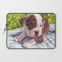 American bulldog puppy colored pencil drawing Laptop Sleeve