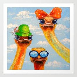 Ostriches friends Art Print