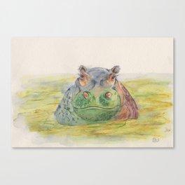 Ink Animals of Africa - Harriet Hippo Canvas Print