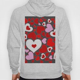 RED HEARTS ON WHITE HEARTS GREY Hoody