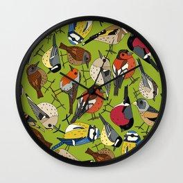 winter garden birds lime Wall Clock