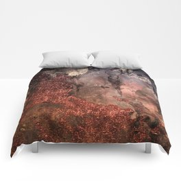 Copper Glitter Stone and Ink Abstract Gem Glamour Marble Comforters
