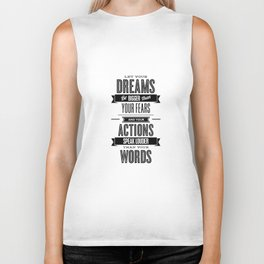 Let Your Dreams Be Bigger Than Your Fears black-white typography design poster home wall decor Biker Tank