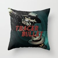 calvin and hobbes Throw Pillows featuring Calvin & Hobbes: Tracer Bullet Alternate by Gallery 94