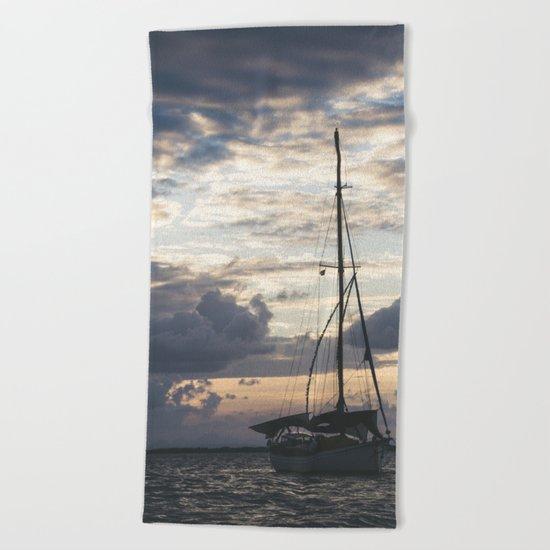 Ship Silhouette Beach Towel