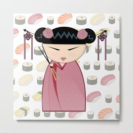 Sushi Kokeshi Metal Print