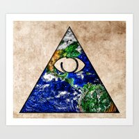 all seeing eye Art Prints featuring All Seeing Eye by Spooky Dooky