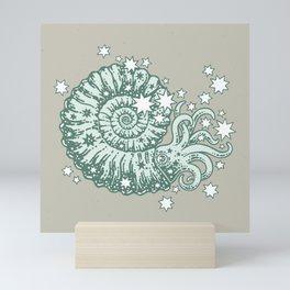 The Starry Ammonite || Aquamarine Palette || Cosmic Prehistoric Life Mini Art Print