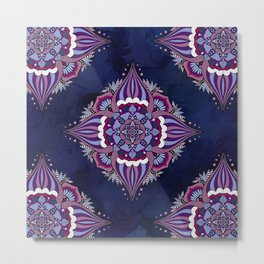 Bohemian Mandalas On Ink Blue Metal Print