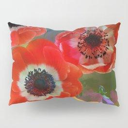 Red anemones in a summer garden Pillow Sham