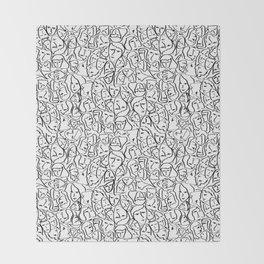 Elio's Shirt Faces in Black Outlines on White Throw Blanket