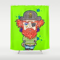 pirate Shower Curtains featuring Pirate  by MALICE-13