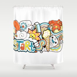 Kawaii Doodle - Just Start Shower Curtain