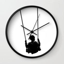 As He Swings (Black and White) Wall Clock