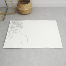 se ronger les ongles - cornée-Floral Illustration, Woman Wall Art Peony Art Rug