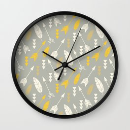 Bohemian feathers and arrows, beige and yellow on gray Wall Clock
