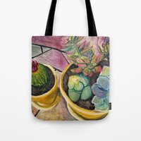 cacti Tote Bags featuring Cacti by Emily Kenney