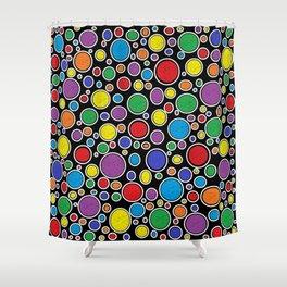 Colored Bubbles Black Shower Curtain