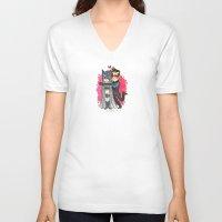 nightwing V-neck T-shirts featuring Nightwing Hugs Bat man by Super Group Hugs