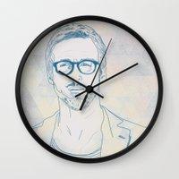 ryan gosling Wall Clocks featuring RYAN by Itxaso Beistegui Illustrations