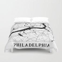 Philadelphia Minimal Map Duvet Cover