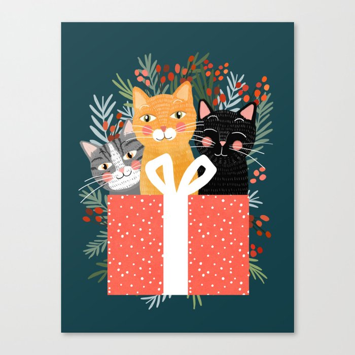 Cats cute christmas xmas tree holiday funny cat art cat lady gift unique pet gifts Canvas Print