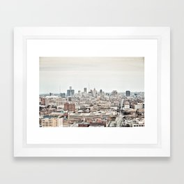Downtown Detroit Skyline View from New Center Framed Art Print