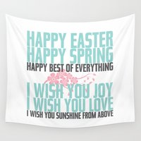 poem Wall Tapestries featuring Happy Easter, Happy Spring | Poem Artwork | Robin's Egg Blue, Grey, Pink by Jaydot Creative
