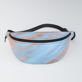 Sky Blue Marble With Rich Rose-Gold Veins Fanny Pack