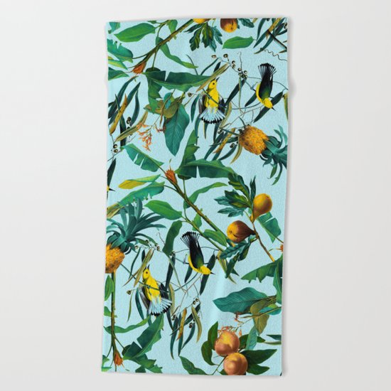 Fruit and Birds Pattern Beach Towel