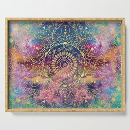 Gold watercolor and nebula mandala Serving Tray