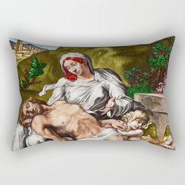 """""""And so it is"""" - The Death of Jesus Landscape Painting by Jeanpaul Ferro Rectangular Pillow"""