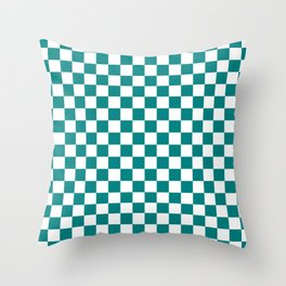 Small Checkered - White and Dark Cyan Throw Pillow