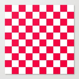 Cheerful Red Checkerboard Pattern Canvas Print