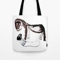 lions Tote Bags featuring LIONS by Valeria Kondor