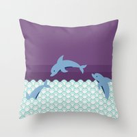 dolphins Throw Pillows featuring Dolphins by Eunice Wong