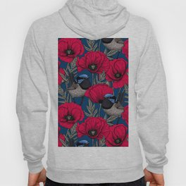 Fairy wren and poppies Hoody