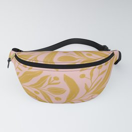 Pink and mustard yellow floral color block art Fanny Pack
