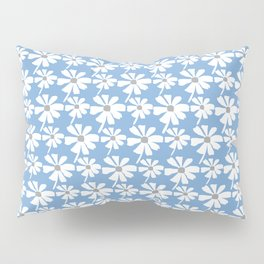 Daisies In The Summer Breeze - Blue Grey White Pillow Sham