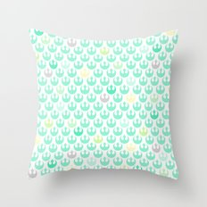 Rebel Alliance on White in Green and Yellow Pastels Throw Pillow