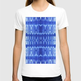 tie dye ancient resist-dyeing techniques Indigo blue textile abstract pattern T-shirt