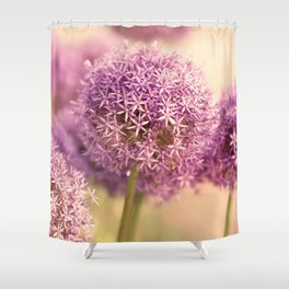 Great allium, friendly brighteamy summer garden wit Shower Curtain