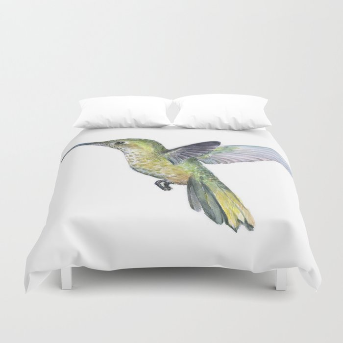 Hummingbird Watercolor Bird Animal Duvet Cover