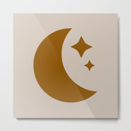 Moon & Stars - Desert Orange Metal Print