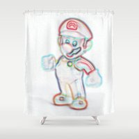 mario Shower Curtains featuring Mario by Beastie Toyz