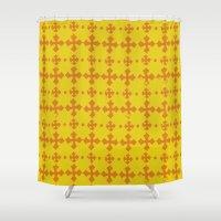 yellow pattern Shower Curtains featuring yellow pattern by JesseRayus