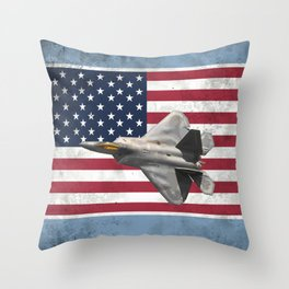 F22 Stealth Fighter Jet American Flag Throw Pillow