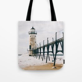 Manistee Lighthouse In Winter Tote Bag
