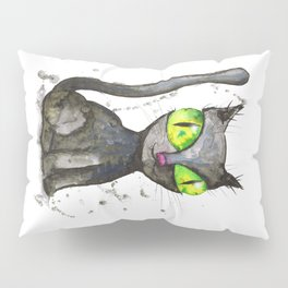 Black cat with green eyes Pillow Sham