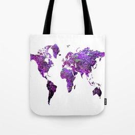 Purple World Map Tote Bag